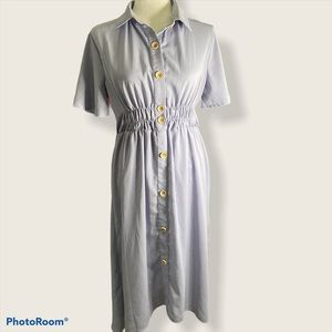 Roolee periwinkle button front bell sleeve dress
